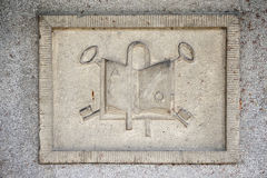 Stone relief with religion symbols Royalty Free Stock Photos