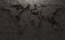 Stone relief of a world map Royalty Free Stock Photo