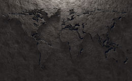 Stone relief of a world map Royalty Free Stock Image