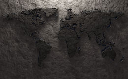 Stone relief of a world map Royalty Free Stock Images