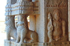 Stone reliefs on the pillars of hindu Temple, Hampi Royalty Free Stock Photos