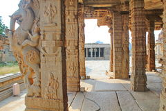 Stone reliefs on the Pillars inside a hindu temple at Hampi Royalty Free Stock Photos