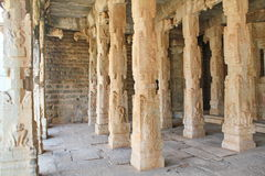 Stone reliefs on the Pillars inside a hindu temple at Hampi Royalty Free Stock Photo