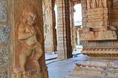 Stone reliefs on the pillars of Vittal Temple, Hampi Royalty Free Stock Photos