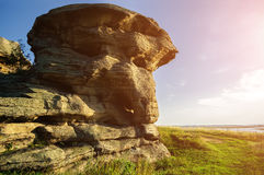 The stone remnants of old sanctuary near the Big Allaki lake in Southern Urals, Russia. Stock Image