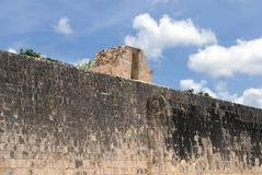 Stone ring of The Mesoamerican Great Ballcourt of Chichen Itza in Mexico Royalty Free Stock Photos