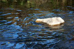 Stone in river. With blue sky reflection and ripples Stock Photography