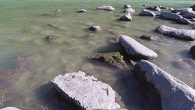 The Stone river bank. Katun River. Altai mountains stock video footage