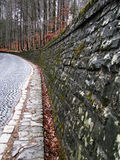 Stone road. To the castle Pelesh, Romania Photo taken on February 2009 royalty free stock image