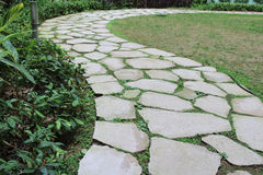 Stone road at the garden Royalty Free Stock Image