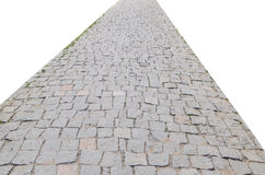 Stone road. Isolated on white Royalty Free Stock Photography