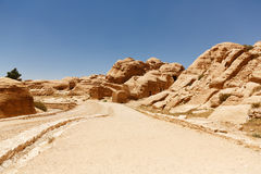Stone road among the rocks in Petra, Jordan Royalty Free Stock Photography