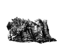 Stone rock of boulders with Bush, trees and grass stock illustration