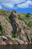 Stone rock. Stone cliff on the island of Khortytsya Ukraine Stock Photos
