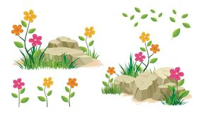 Stone and rock with flower. And grass vector collection design Royalty Free Illustration