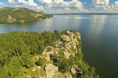 Stone rock on a mountain lake Borovoe (Burabay) in Kazakhstan Royalty Free Stock Images