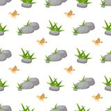Stone rock seamless pattern nature architecture vector illustration. Natural cobblestone with green grass background. Nature texture with little birds Royalty Free Stock Photos