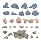 Stone rock vector rockstone of rocky mountain in Rockies mountainous cliff with stony geological materials and stoniness. Minerals illustration set isolated on Stock Photo