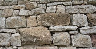Stone rock wall. Stacked stone wall background horizontal Royalty Free Stock Photos