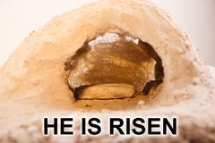 The stone is rolled away from the grave royalty free stock photo