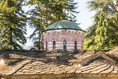 Stone roof and dome pattern of the main temple in the old Troyan Monastery in Bulgaria stock photography