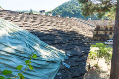 Stone roof Troyan Monastery in Bulgaria royalty free stock image