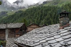 Stone roofs of a Walser village, Cuneaz (Italy) Royalty Free Stock Photography