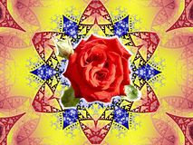 Stone roses. Decorative colourful fractal with central rose Royalty Free Stock Photos