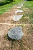 Stone round path, stones in a row royalty free stock photography