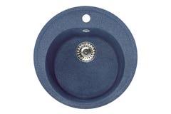 Stone round wash of blue granite,  Isolated on white background Royalty Free Stock Photo