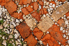 Stone rubble underfoot. Grunge background texture. Royalty Free Stock Photo