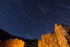 Stone Ruin Star Trails Stock Image