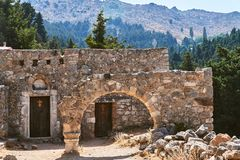 Stone ruins of the ancient city of Palio Pyli on the island of Kos stock image
