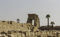 The stone ruins in Ancient Egyptian temple complex. The detail stone ruins in Ancient Egyptian temple complex located on the east bank of the Nile River Royalty Free Stock Photo
