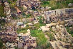 Stone ruins of antiquity. Abstract old stone ruins of antiquity on the color photo with effect of a retro Royalty Free Stock Photography