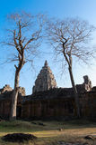 Stone ruins & Dead trees. Twin dead trees and Main Temple of Phanom Rung Historical Park in nice blue sky Royalty Free Stock Photos