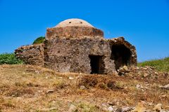 Ruined Mosque, Methoni castle, Greece royalty free stock photo