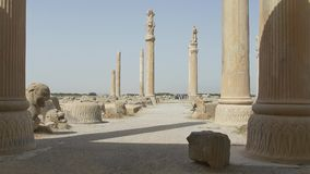 Stone ruins of the Persepolis stock video footage