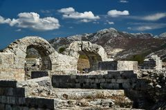 Stone ruins of the Roman. City of Salona in Croatia Royalty Free Stock Photos