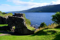 Stone Ruins of Urquhart Castle in the Scottish Highlands Royalty Free Stock Photo