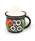 Stone salt in a cup Royalty Free Stock Photo