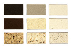 Stone samples for kitchen countertops. Over white Royalty Free Stock Images