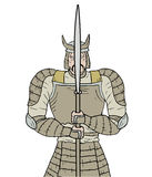 Stone samurai. Creative design of stone samurai stock illustration