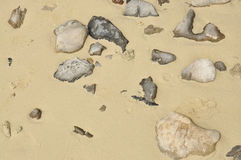 Stone and sand background. Stone and sand on the beach Stock Photography