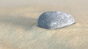 Stone in the sand. 3d illustration Royalty Free Stock Photos