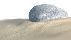Stone in the sand. 3d illustration Royalty Free Stock Image