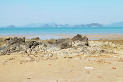 Stone, sand and sea Stock Photography