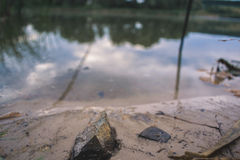 Stone on the sandy shore of the pond. Royalty Free Stock Photography