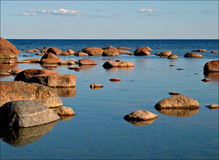 Stone scattering. Stones on the beach of Gulf of Finland Royalty Free Stock Images
