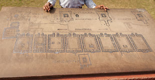 Stone with the scheme of excavation of university of Nalanda. Royalty Free Stock Photography
